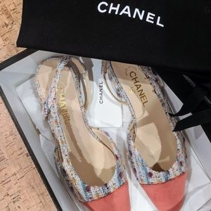 Chanel Tweed Slingbacks Flats